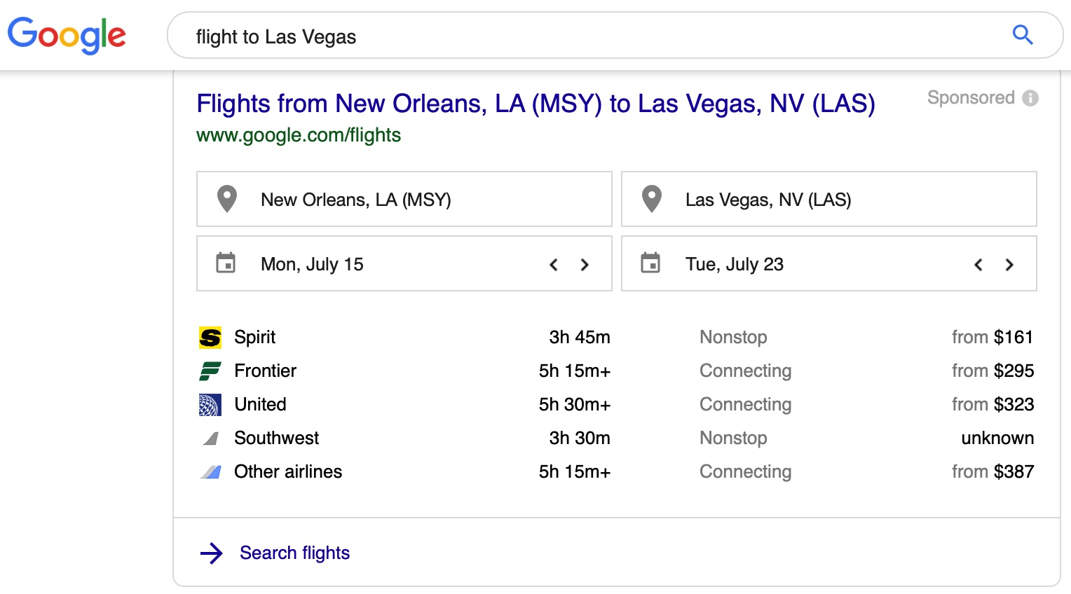 searching for a flight from New Orleans on google; geo targeted search results