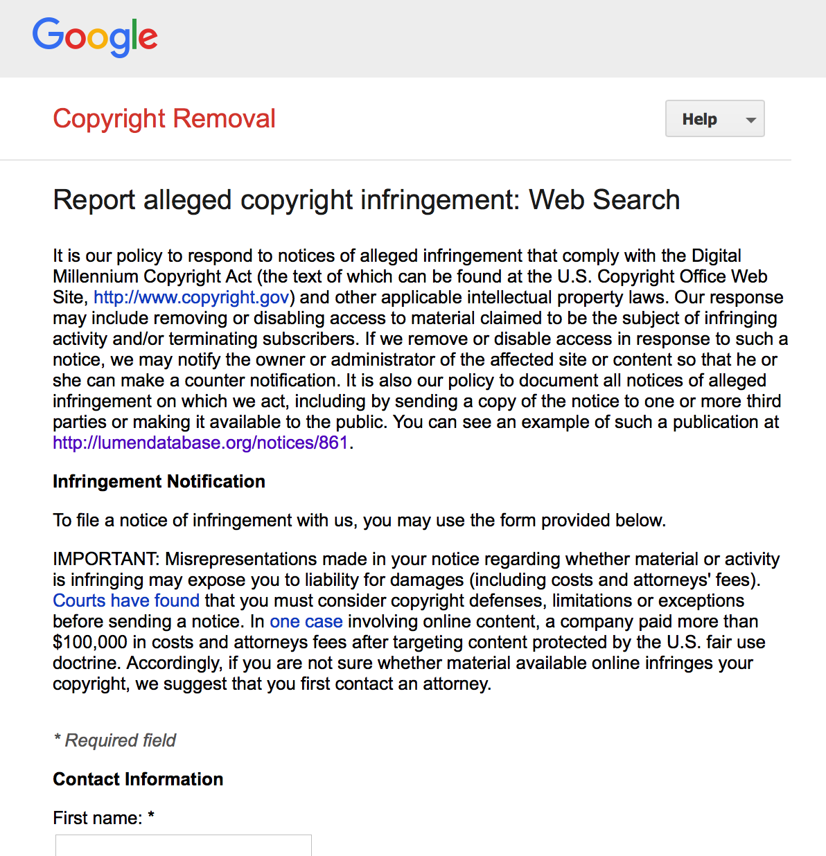 image of google's dmca report page