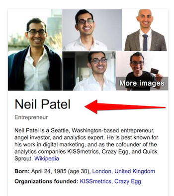 snipped image showing Neil Patel