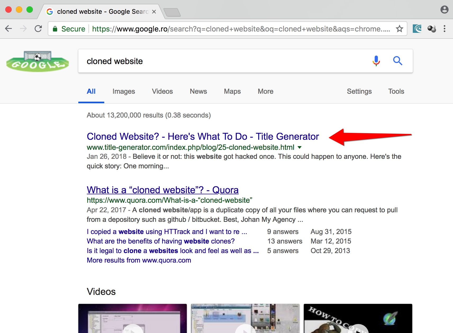 image of google search cloned website ranking #1