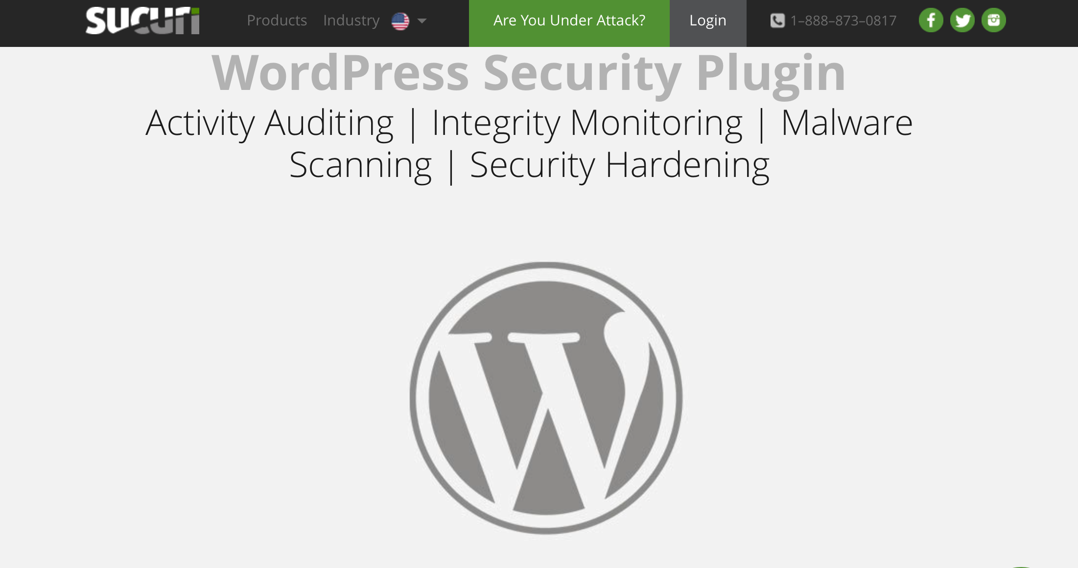 image of Sucuri webpage for wp security plugin